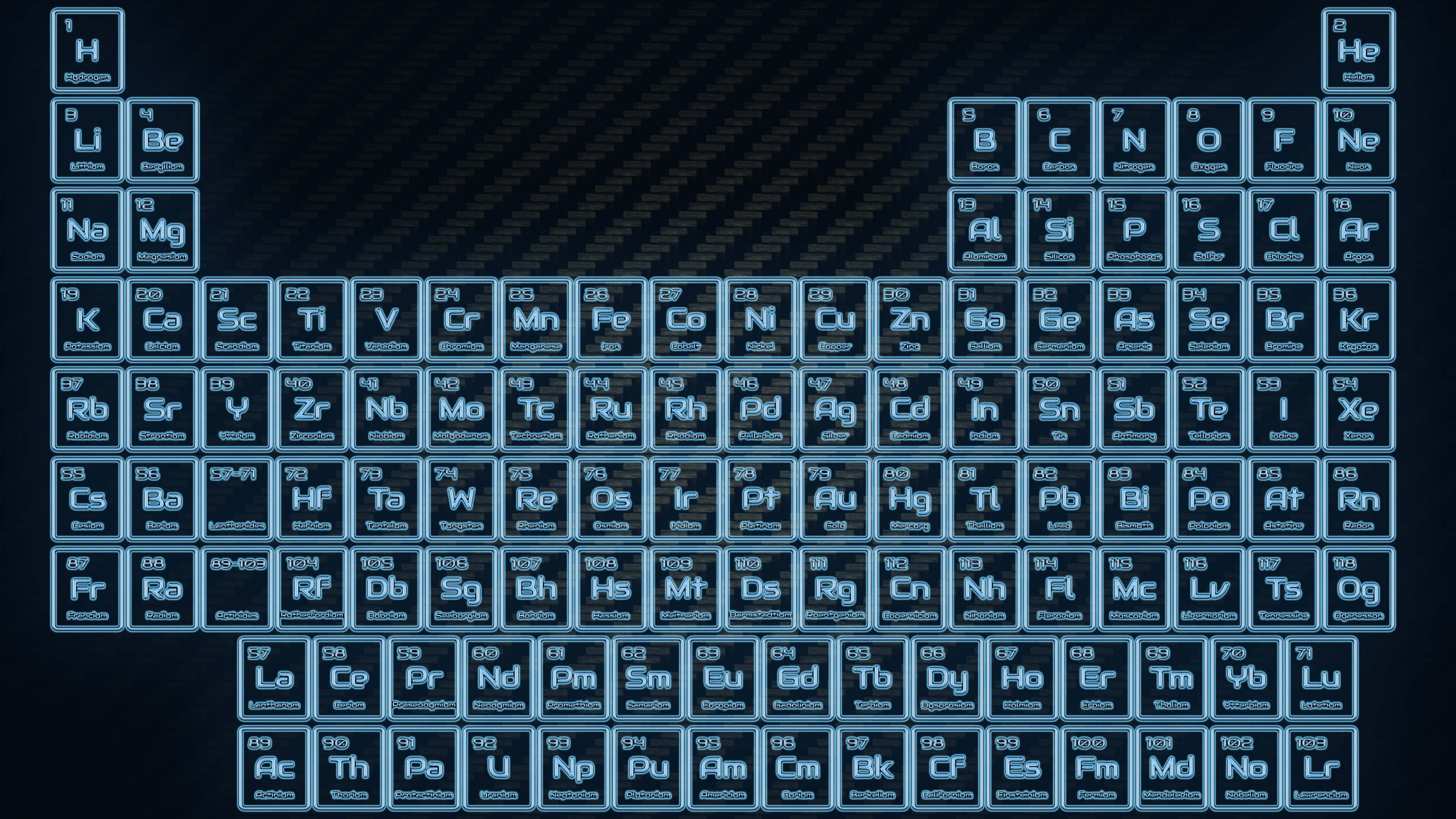 Blue Neon Glowing Tube Periodic Table Wallpaper