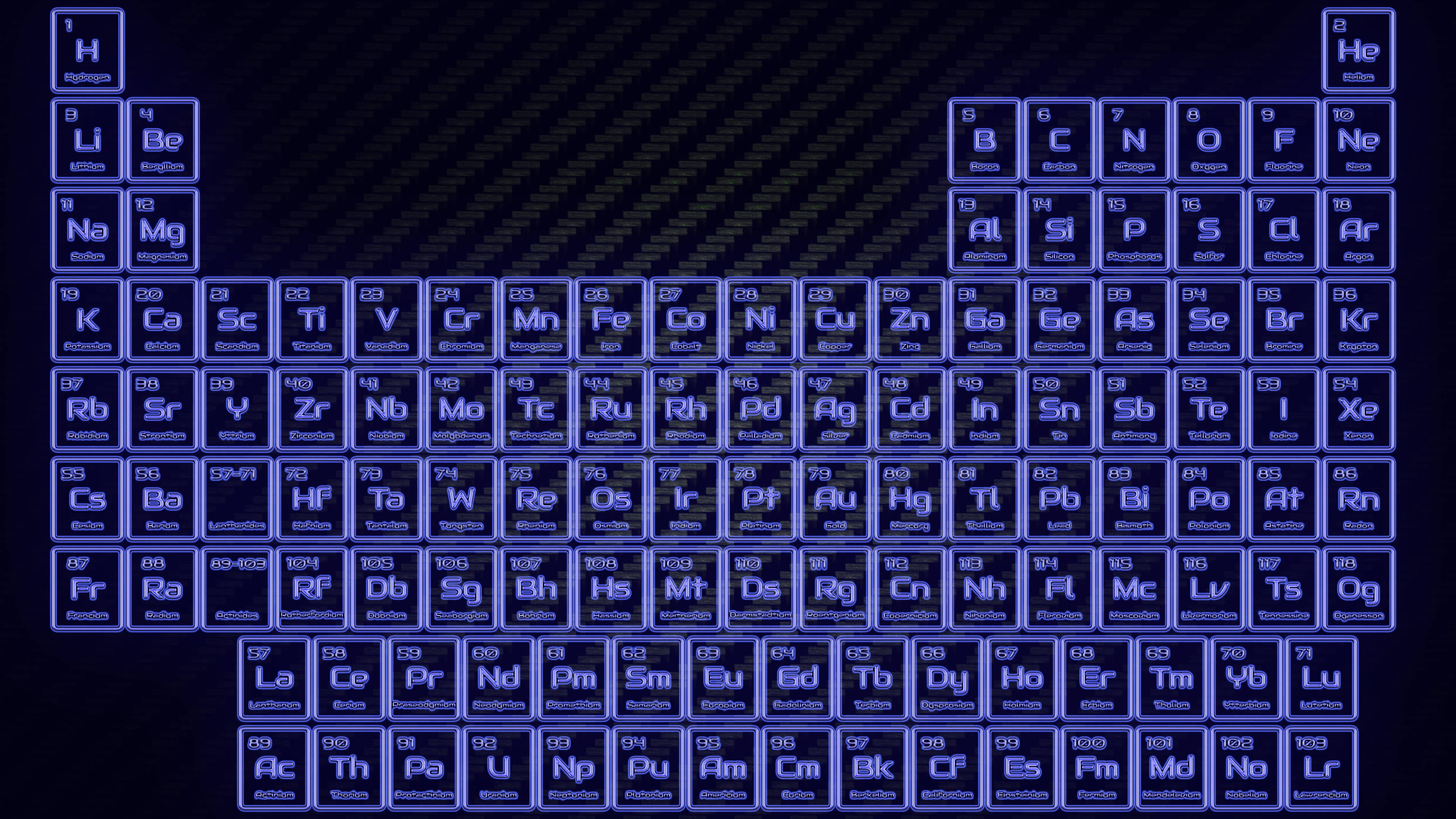 Dark Blue Neon Glowing Tube Periodic Table Wallpaper