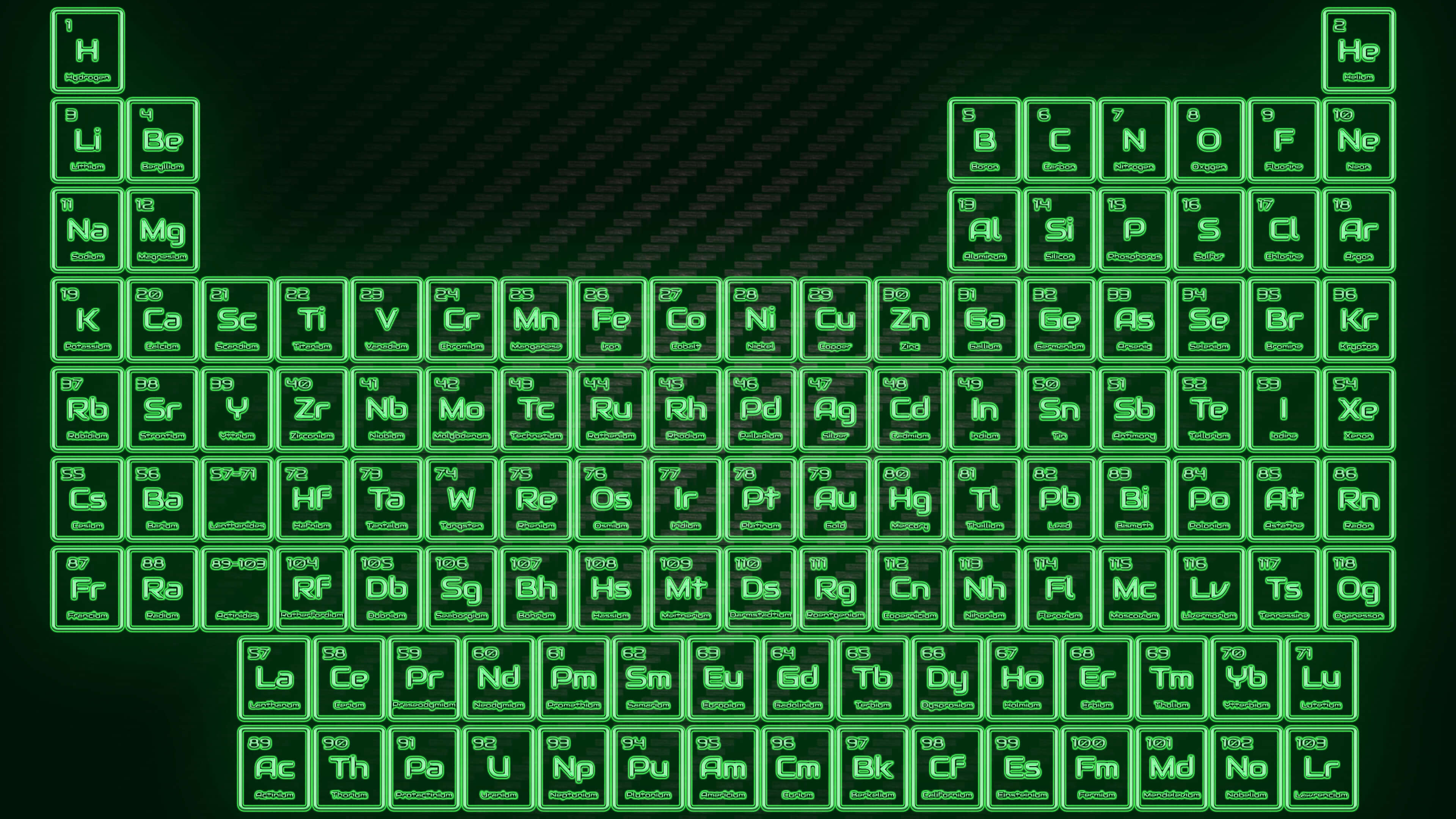 Green Neon Glowing Tube Periodic Table Wallpaper