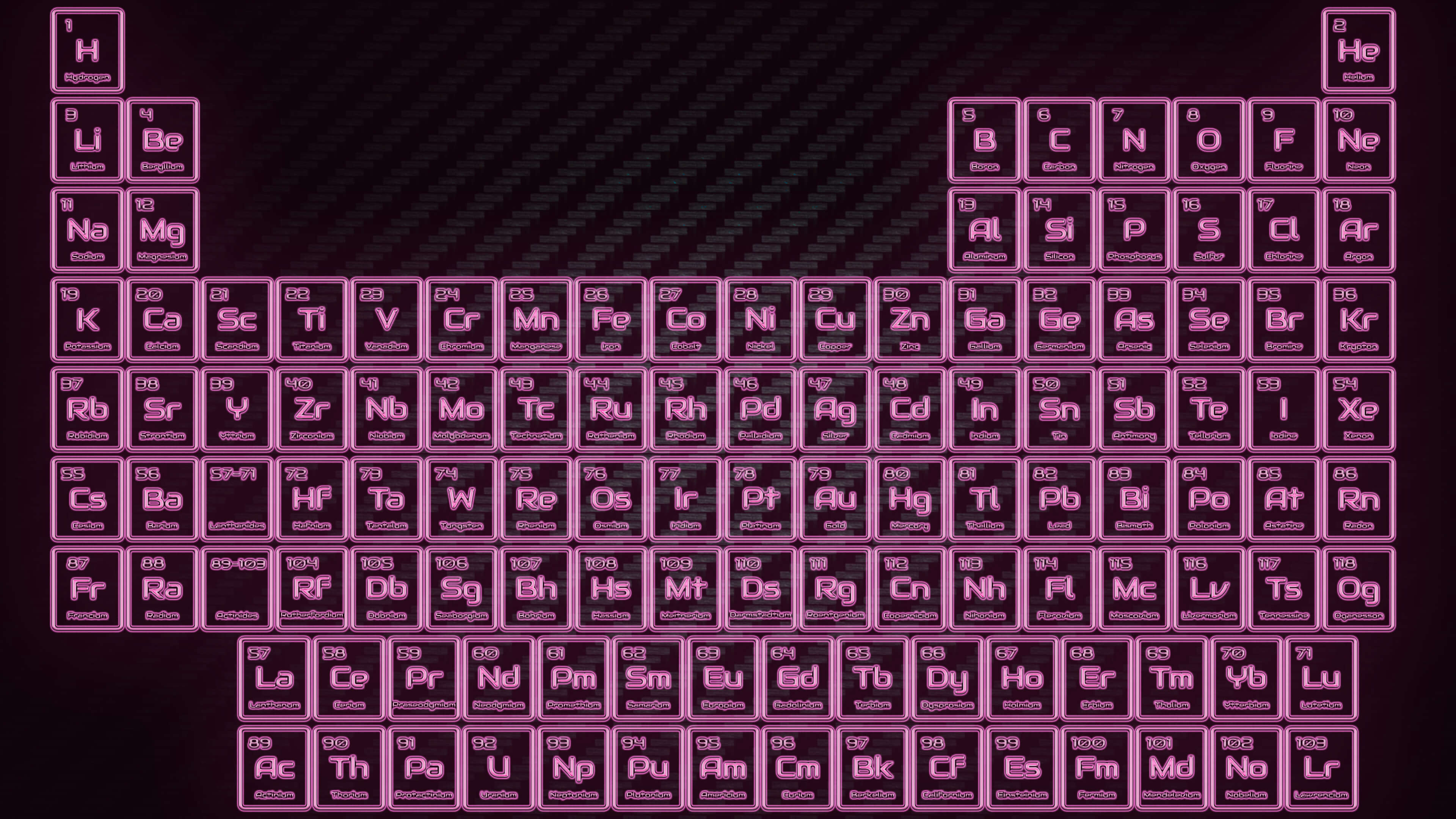 Pink Neon Glowing Tube Periodic Table Wallpaper