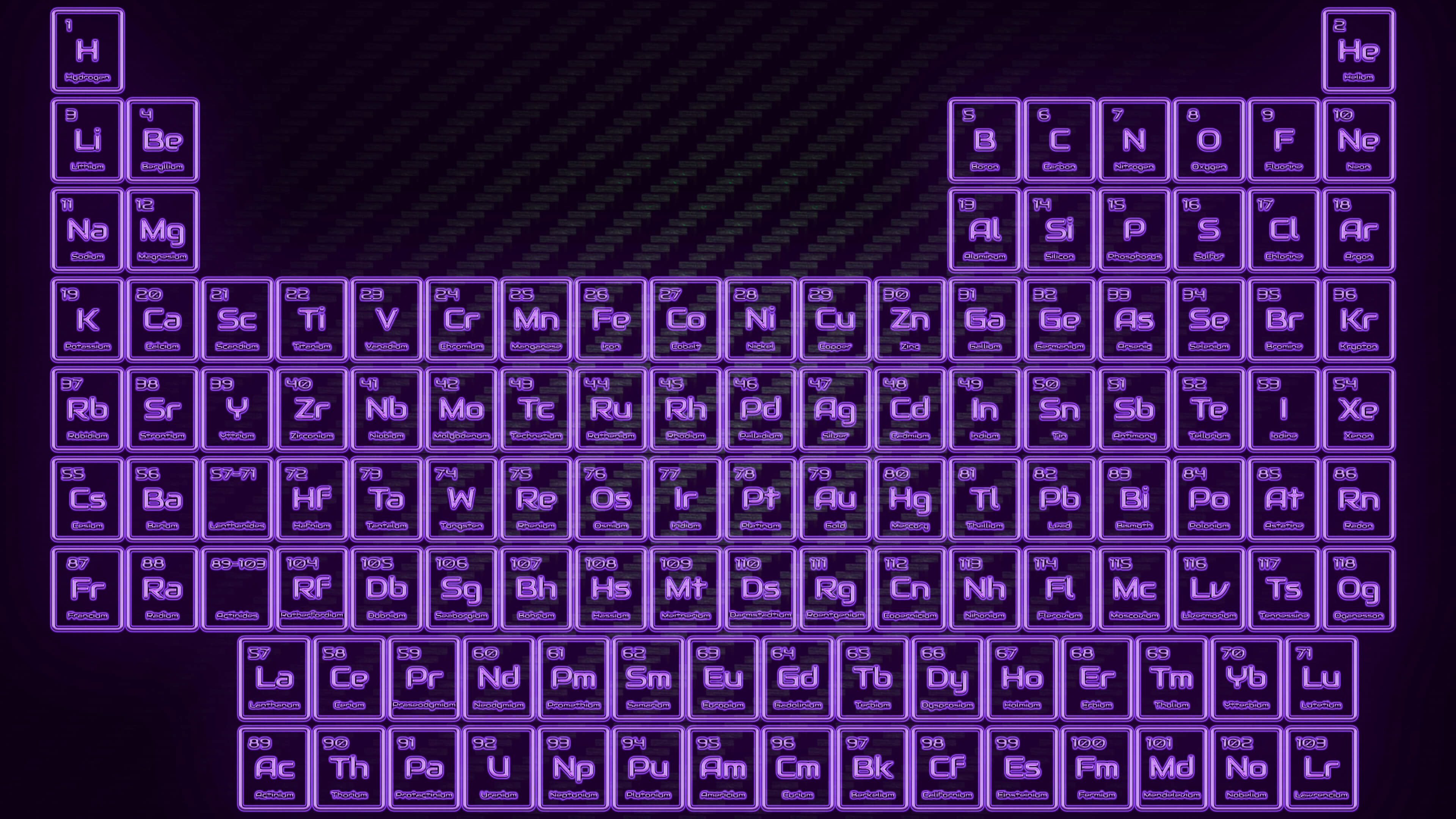Purple Neon Glowing Tube Periodic Table Wallpaper