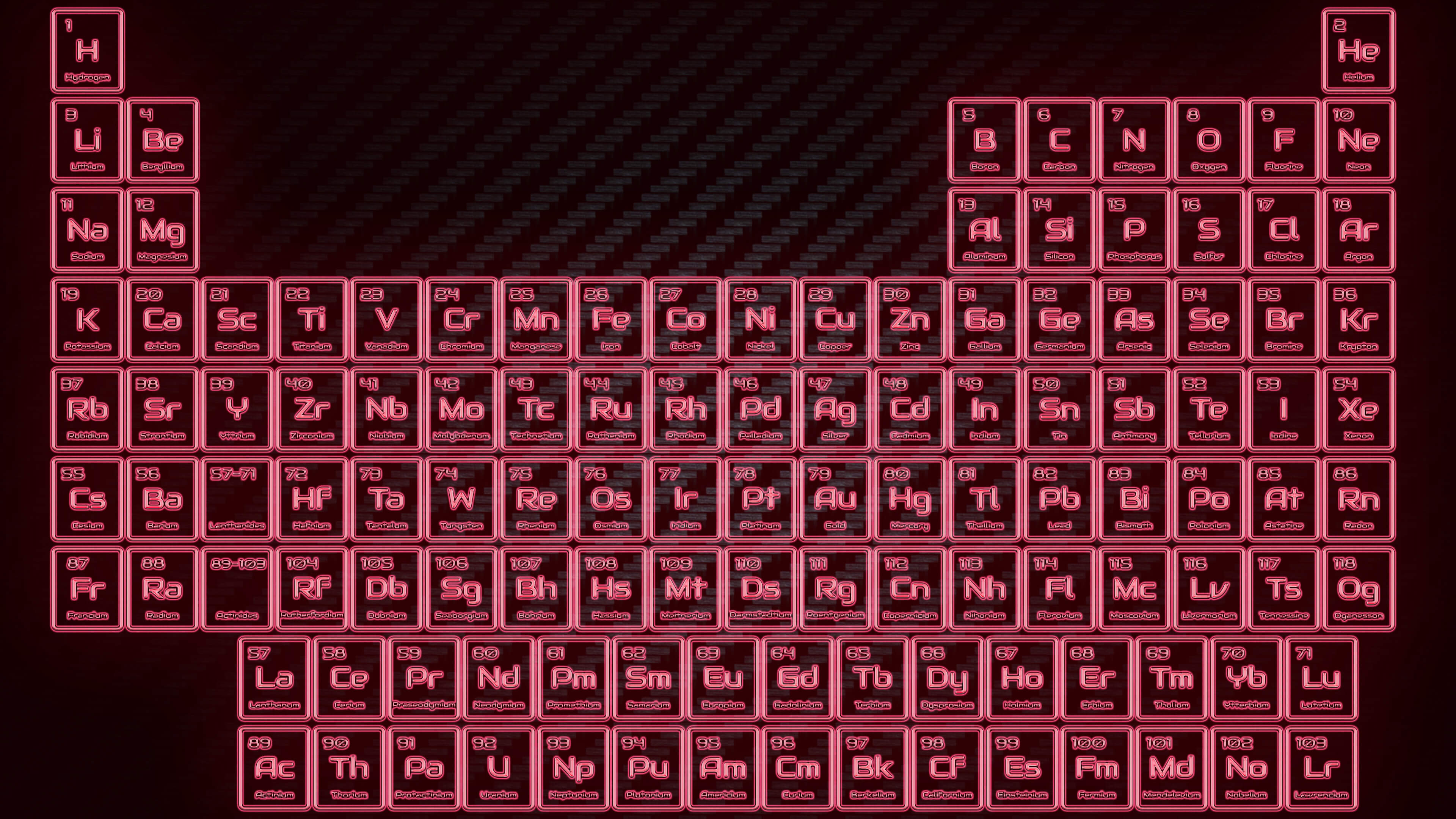 Red Neon Glowing Tube Periodic Table Wallpaper