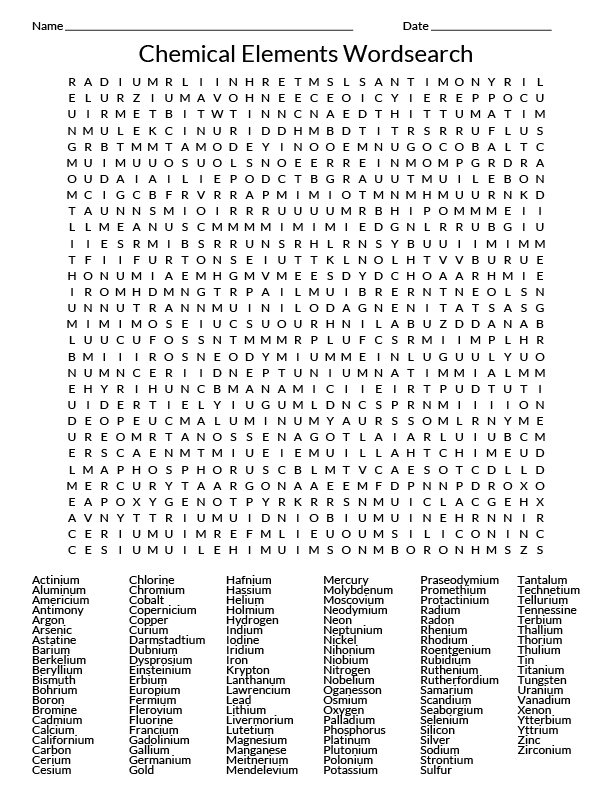 118 Element Wordsearch Chemistry Wordsearch