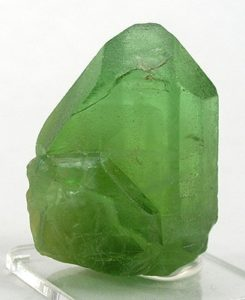 Olivine, which forms the gemstone peridot, is the most common mineral in the Earth's mantle. The bridgmanite form of olivine the most common mineral on Earth. ( Rob Lavinsky / iRocks.com)