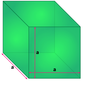Cube with dimensions shown