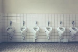 No matter how clean the bathroom, urine isn't sterile, so there will always be bacteria.