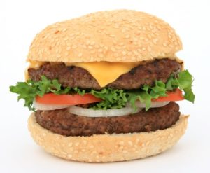 While lettuce and tomato may get slimy, a burger made with a bun, meat, and cheese won't rot.