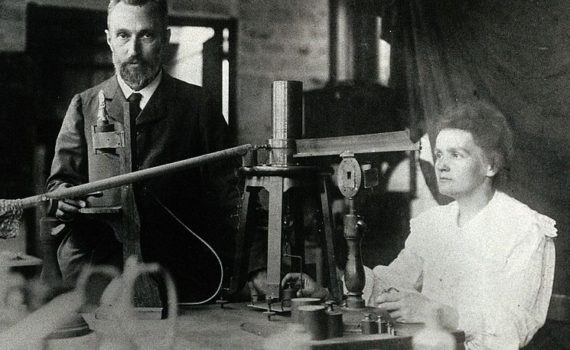 Pierre and Marie Curie in the laboratory (circa 1904)