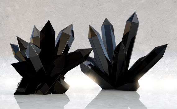 It takes a lot of black dye to make solid black crystals.
