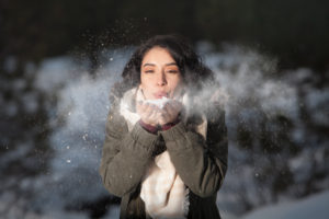 When it's cold outside, you can see your breath because water vapor condenses into fog.