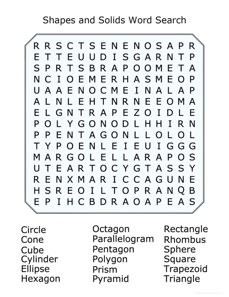 2D and 3D Shapes Word Search