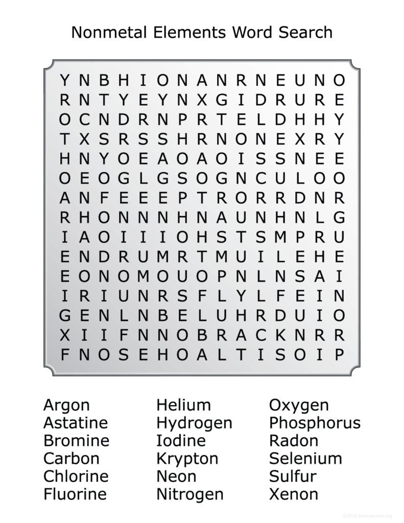 Nonmetals Word Search