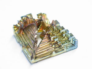 Bismuth crystals are silver, but quickly oxidize to display rainbow colors. (Image: Dschwen)