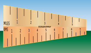 Ruler to convert miles to km