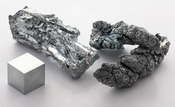These are different samples of pure zinc. The metal is shiny metallic silver-gray when freshly cut. (Alchemist-hp)