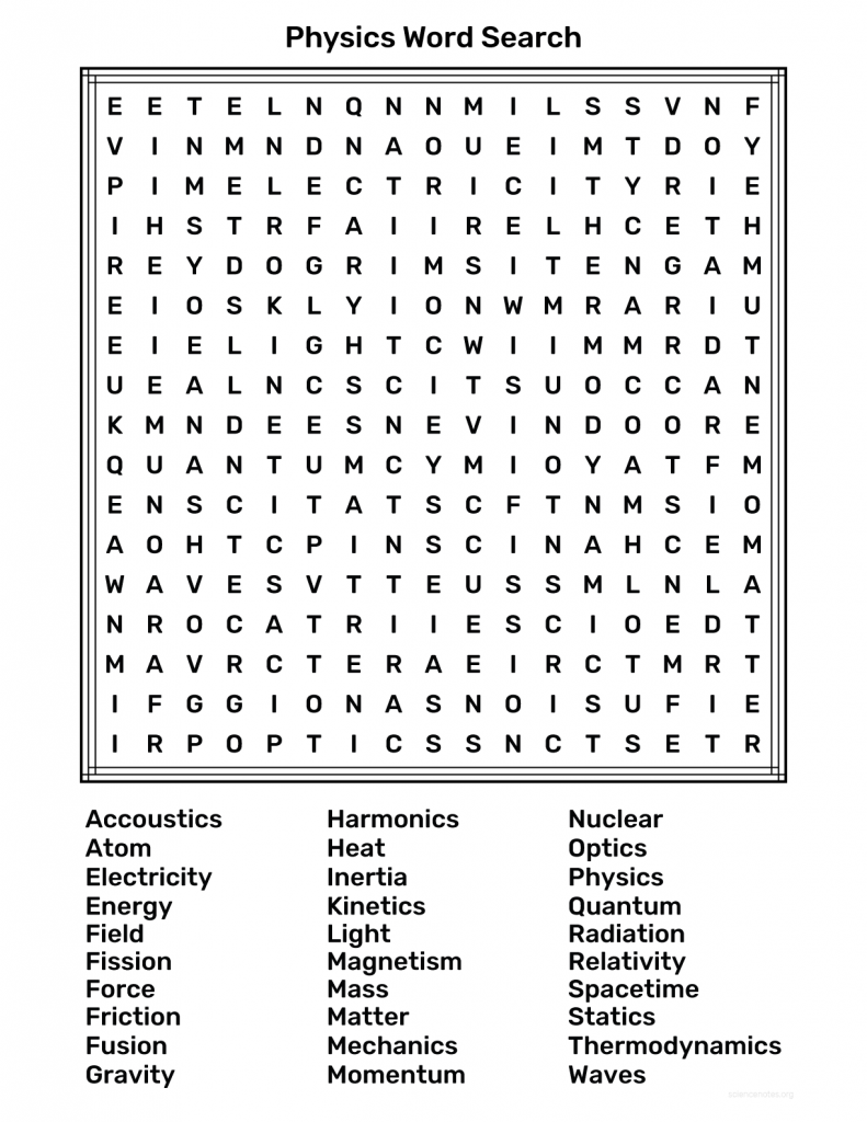 Physics Word Search