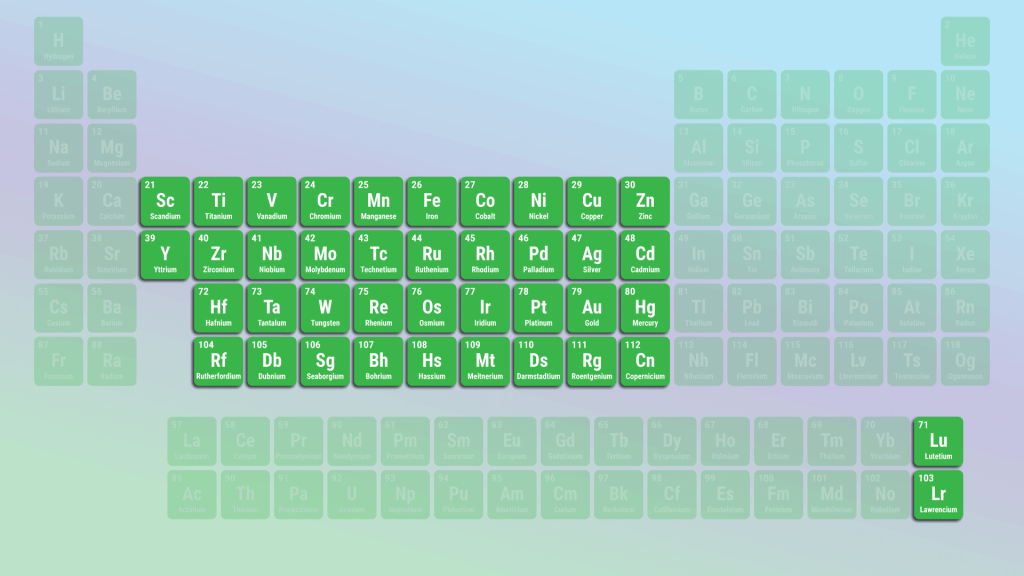 These are the transition metals, according to the IUPAC definition.