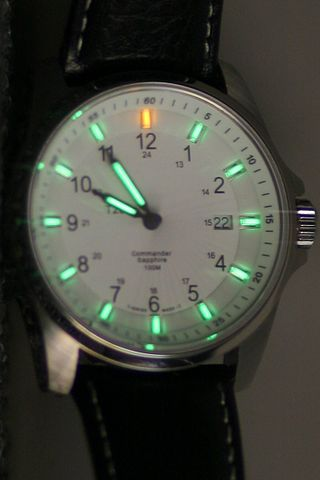 Tritium vials mark the hours and hands of this watch. (Autopilot)