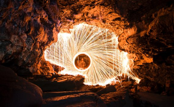 Steel wool sparklers are ideal for creating light paintings. (Steve Halama)