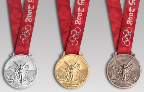 The Olympic gold medal is sterling silver coated with gold.