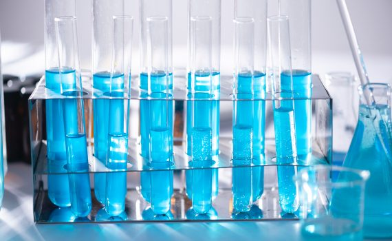 Test Tubes of Blue Liquid