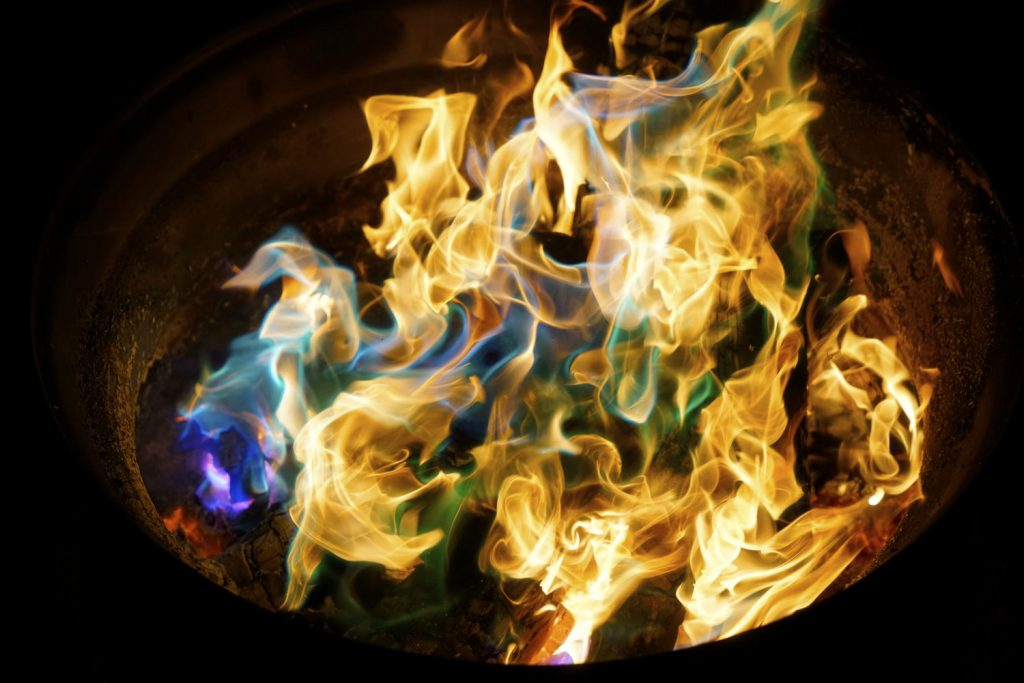 Colored fire campfire
