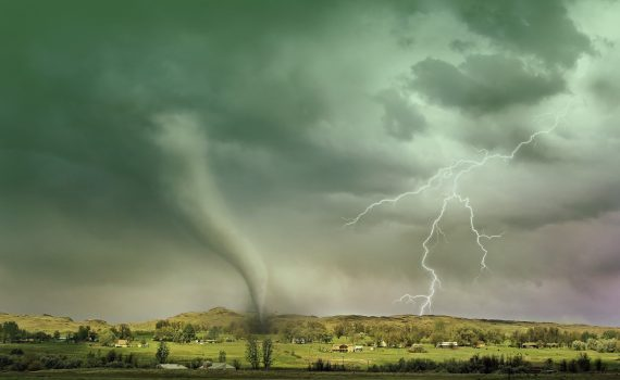 A green sky indicates a powerful thunderstorm that may produce a tornado.