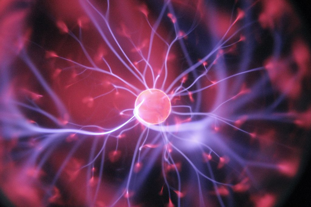 Ionization energy, as seen in a plasma ball, is one of the main types of energy.