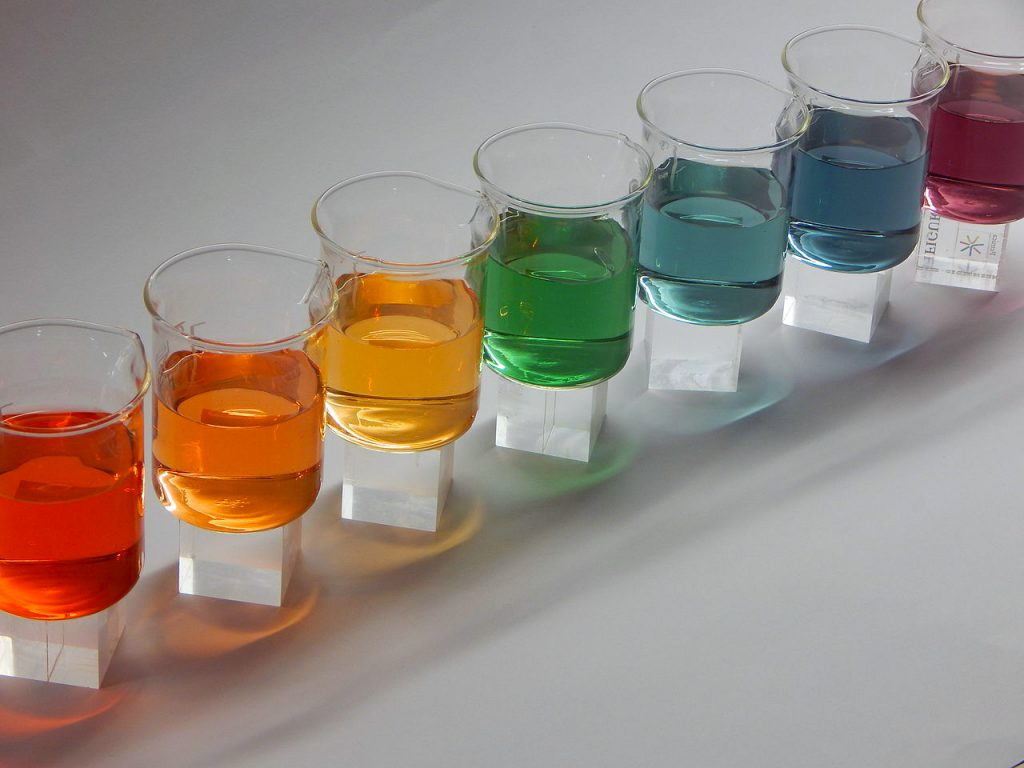 Universal indicator changes colors according to pH, pKa, pA, pKb, or Kb.
