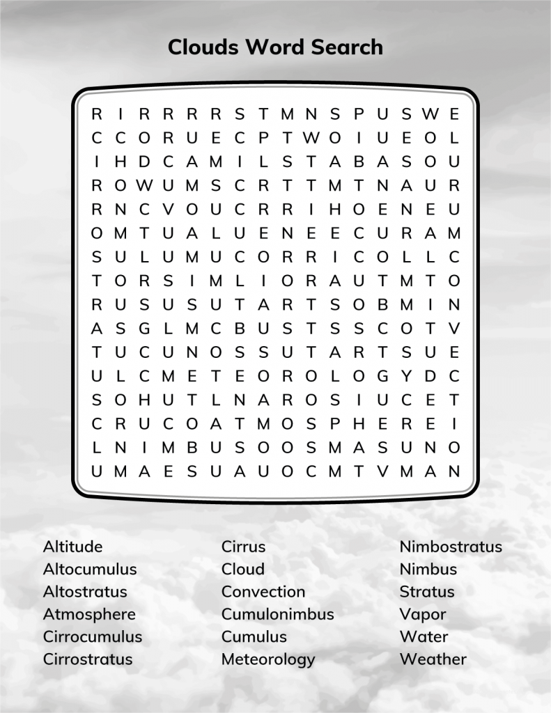 Clouds Word Search