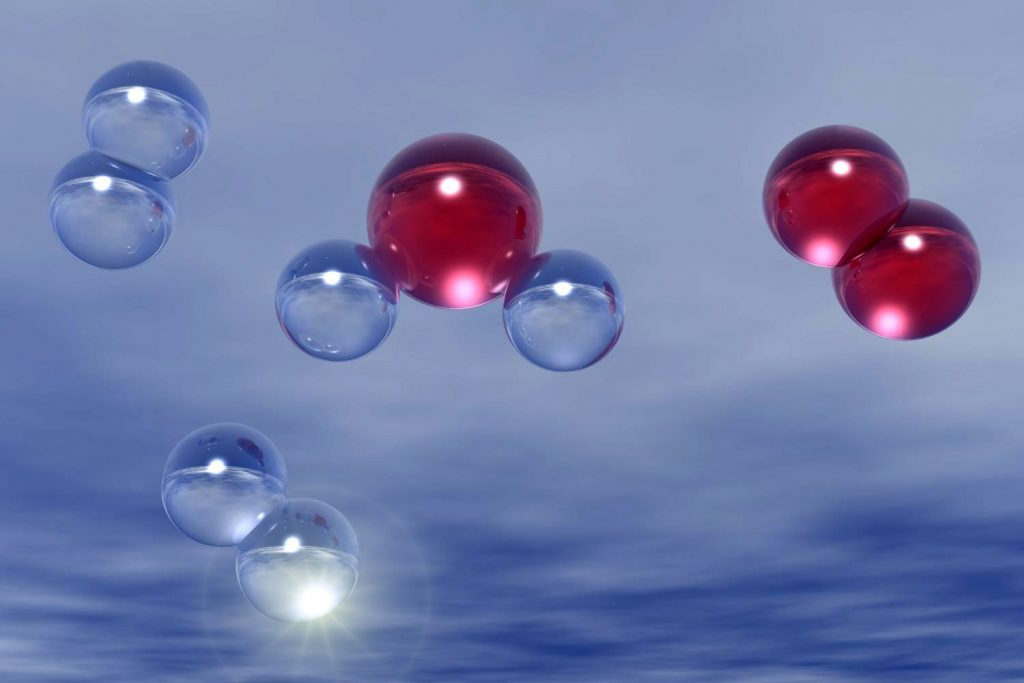 The chemical reaction between oxygen and hydrogen makes water.
