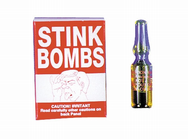 Stink bombs either contain one smelly chemical or else two that create a stink when mixed together.
