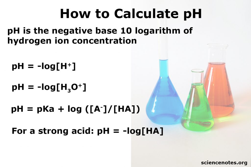 To calculate pH, take the log of the hydrogen ion concentration and change the sign of the answer.