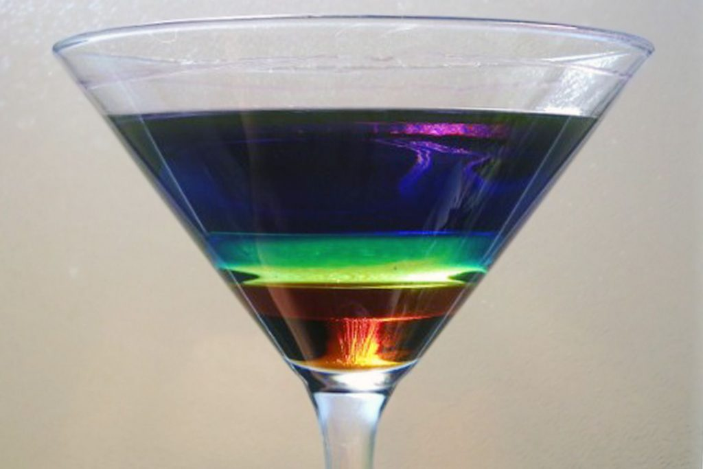 You can color the layers of a density column using food coloring for water-based layers.