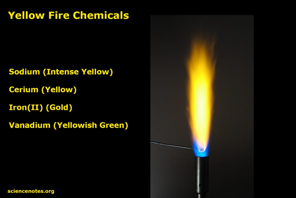 It's easy to make yellow fire using table salt, which contains sodium, or by adding iron filings.