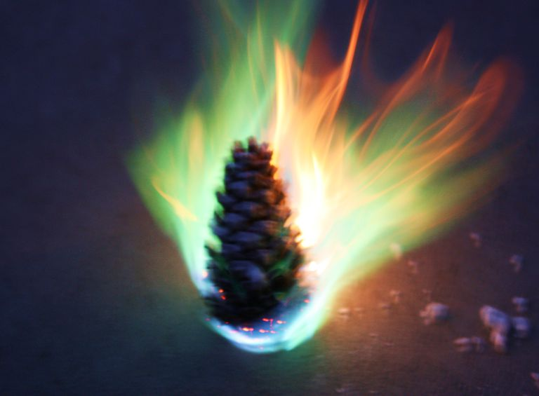 Colored Fire Pinecone